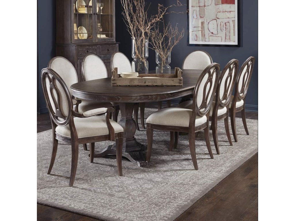 Markor Furniture Saint Germain 9 Piece Double Pedestal Dining Table Set With Arm Chairs Side