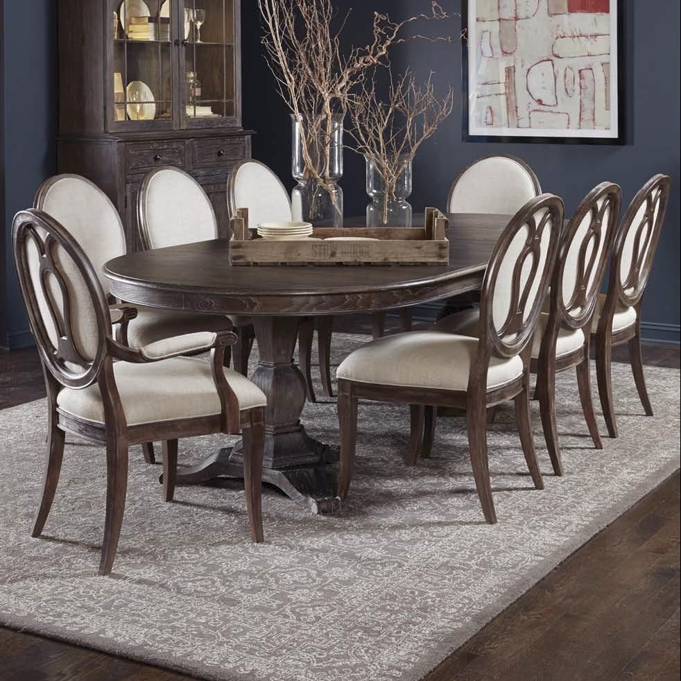 A.R.T. Furniture Inc Saint Germain 9 Piece Double Pedestal Dining Table Set  With Arm Chairs
