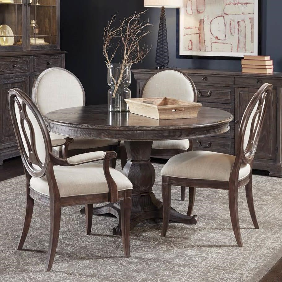 Elegant A.R.T. Furniture Inc Saint Germain 5 Piece Round Dining Table Set With Arm  Chairs U0026