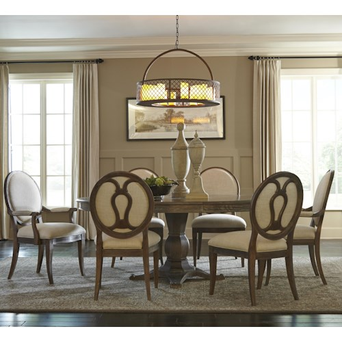 A R T Furniture Inc Saint Germain 7 Piece Round Dining Table Set With Arm Chairs