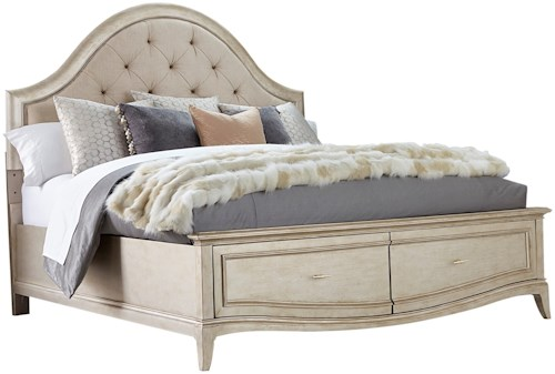 A.R.T. Furniture Inc Starlite Queen Upholstered Panel Bed with Storage in Metallic Paint Finish