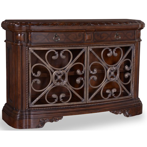 Belfort Signature Cortona Console Table with 2 Drawers and Metal Accents