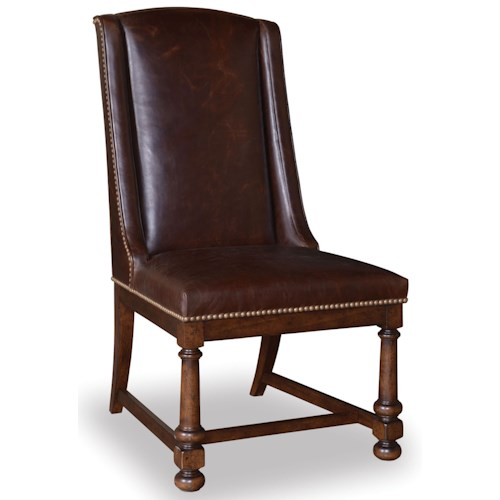 Belfort Signature Belvedere Leather Side Chair with Decorative Trim