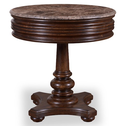 Belfort Signature Belvedere 1-Drawer Round Side Table with Marble Top