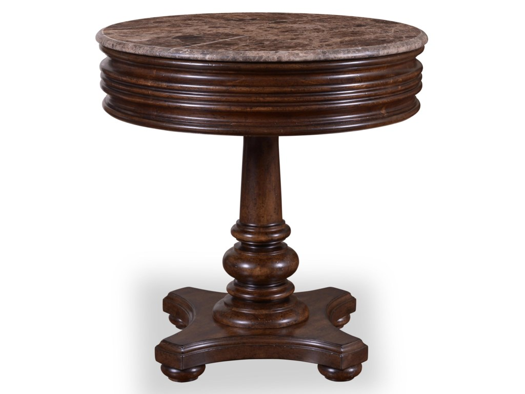 ART Furniture Inc Whiskey Oak 205303 2304 1 Drawer Round Side Table With Marble Top