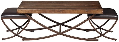Artage International Brookwood Cocktail Table with 2 Benches