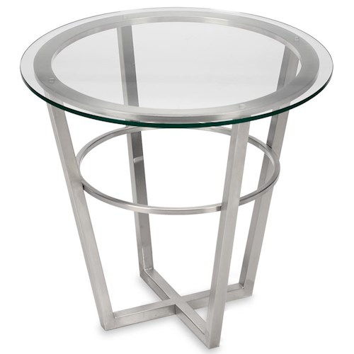 Artage International Athens Round Lamp Table with Glass Top