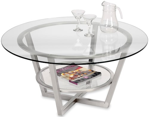 Artage International Athens Round Cocktail Table with Glass Top and Shelf