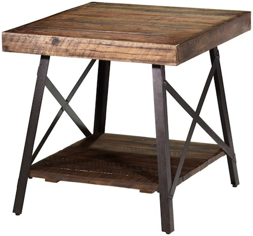 Artage International Crosswinds Industrial Rectangular End Table with Reclaimed Planks