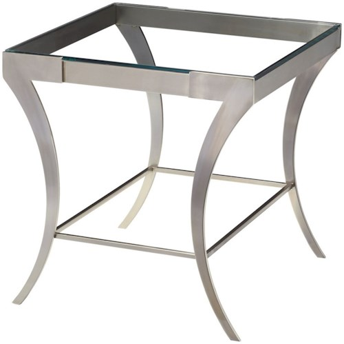 Artage International Severn Rectangular End Table with Glass Top