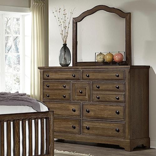 Artisan & Post Artisan Choices Solid Wood Villa Triple Dresser & Arched Mirror
