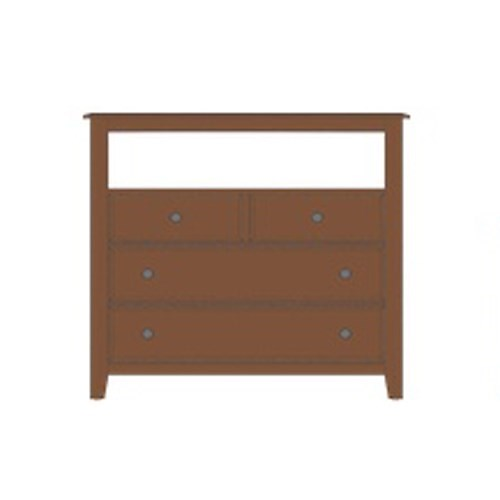 Artisan & Post Artisan Choices Solid Wood Loft Media Chest - 4 Drawers and Open Shelf