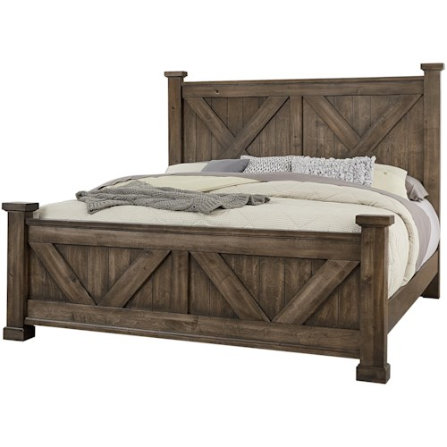 Artisan & Post Cool Rustic Solid Wood Queen Barndoor X Headboard and Footboard Bed