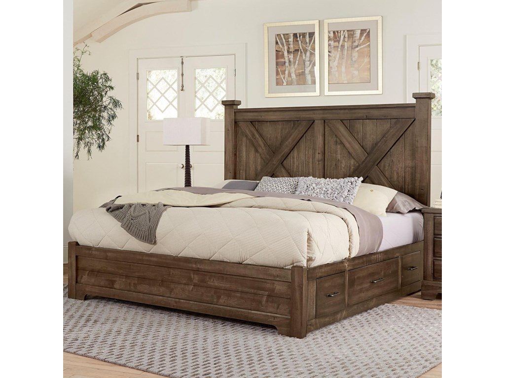 Artisan & Post Cool RusticKing X Bed With Double Side Storage