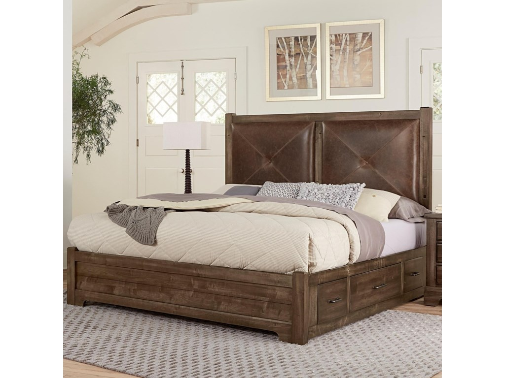 Artisan & Post by Vaughan Bassett Cool RusticKing Leather Bed with Side Storage