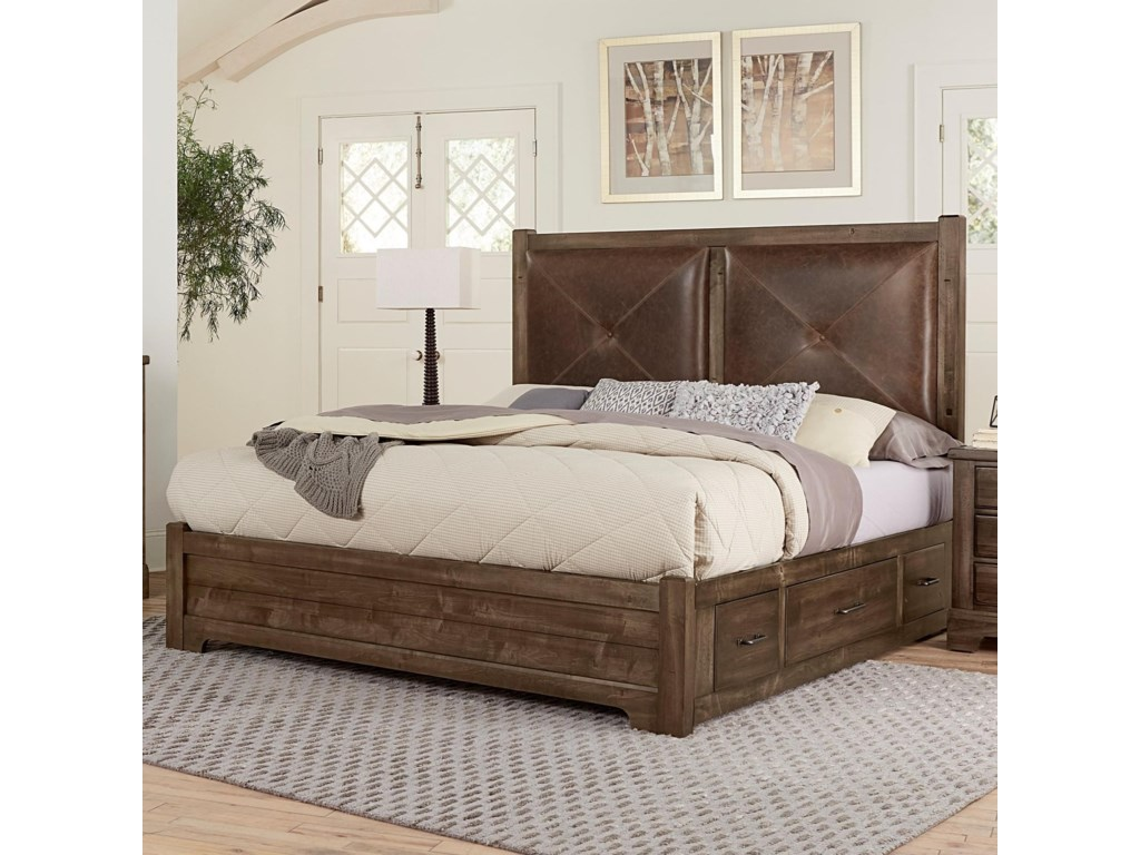 Artisan & Post Cool RusticQueen Leather Bed with Double Side Storage