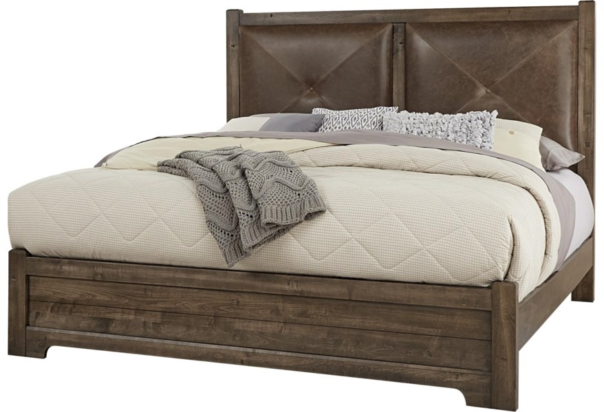 Solid Wood Queen Leather Headboard Bed