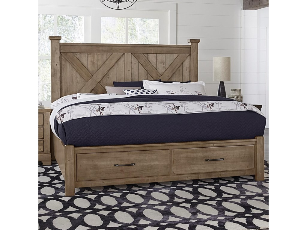 Artisan & Post Cool RusticQueen X Bed with Storage Footboard