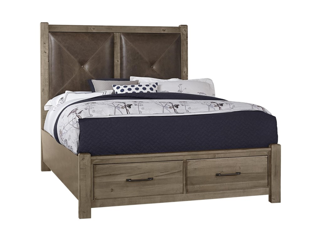 Artisan & Post Cool RusticQueen Leather Bed with Storage Footboard