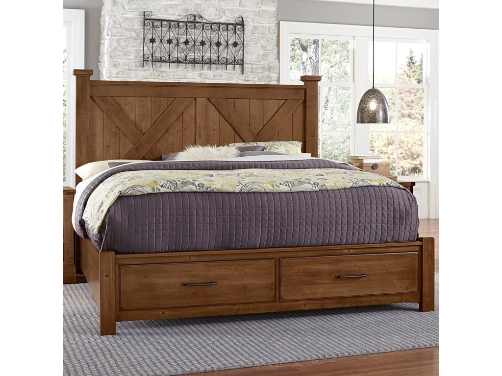 Artisan & Post Cool RusticKing X Bed with Storage Footboard