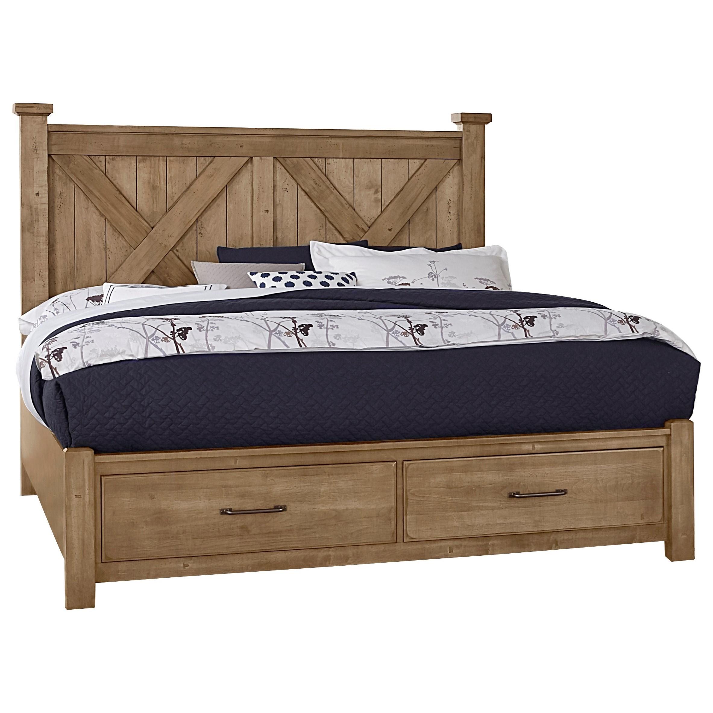 Solid Wood Queen Barndoor X Bed with Storage Footboard