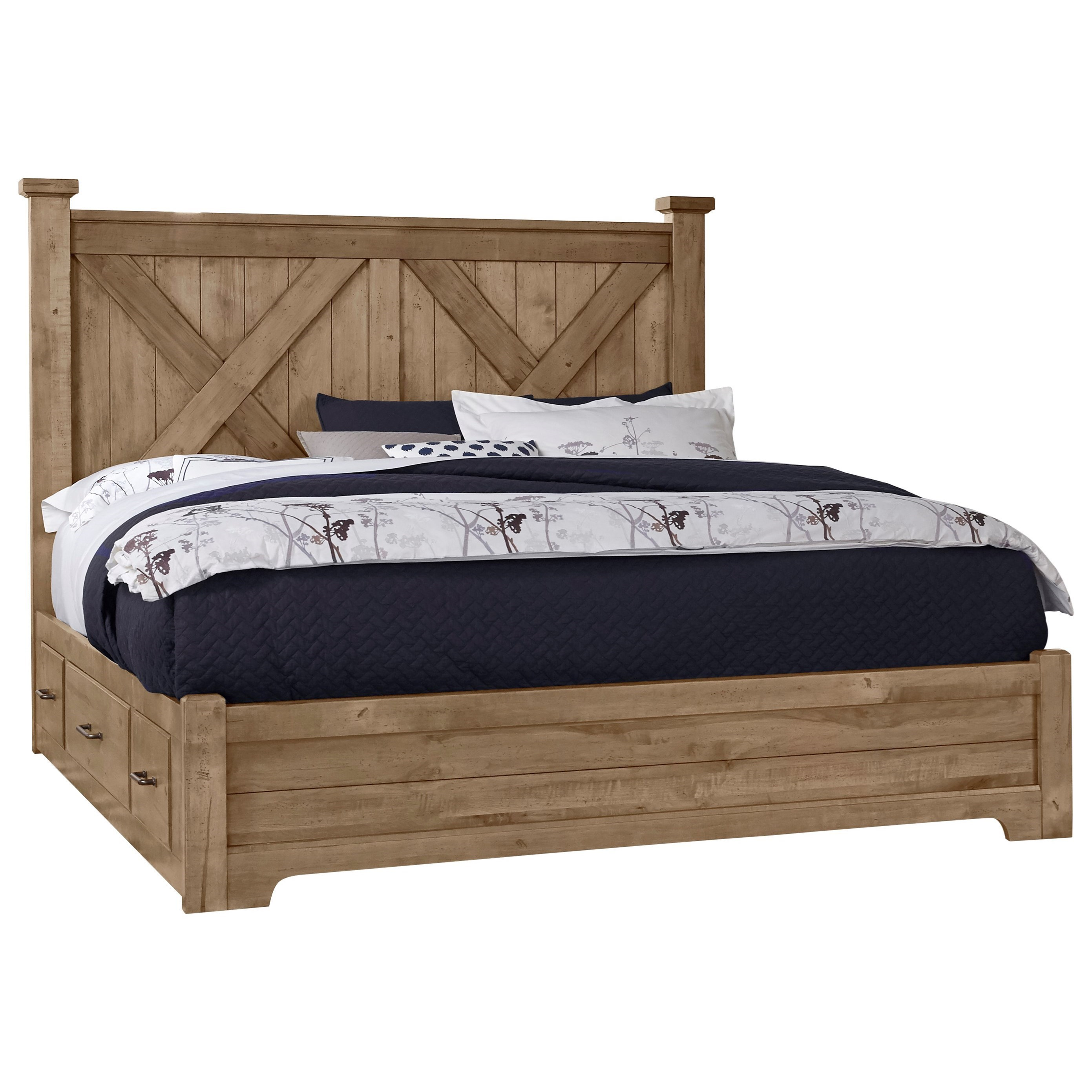 Solid Wood King Barndoor X Bed With Double Side Storage
