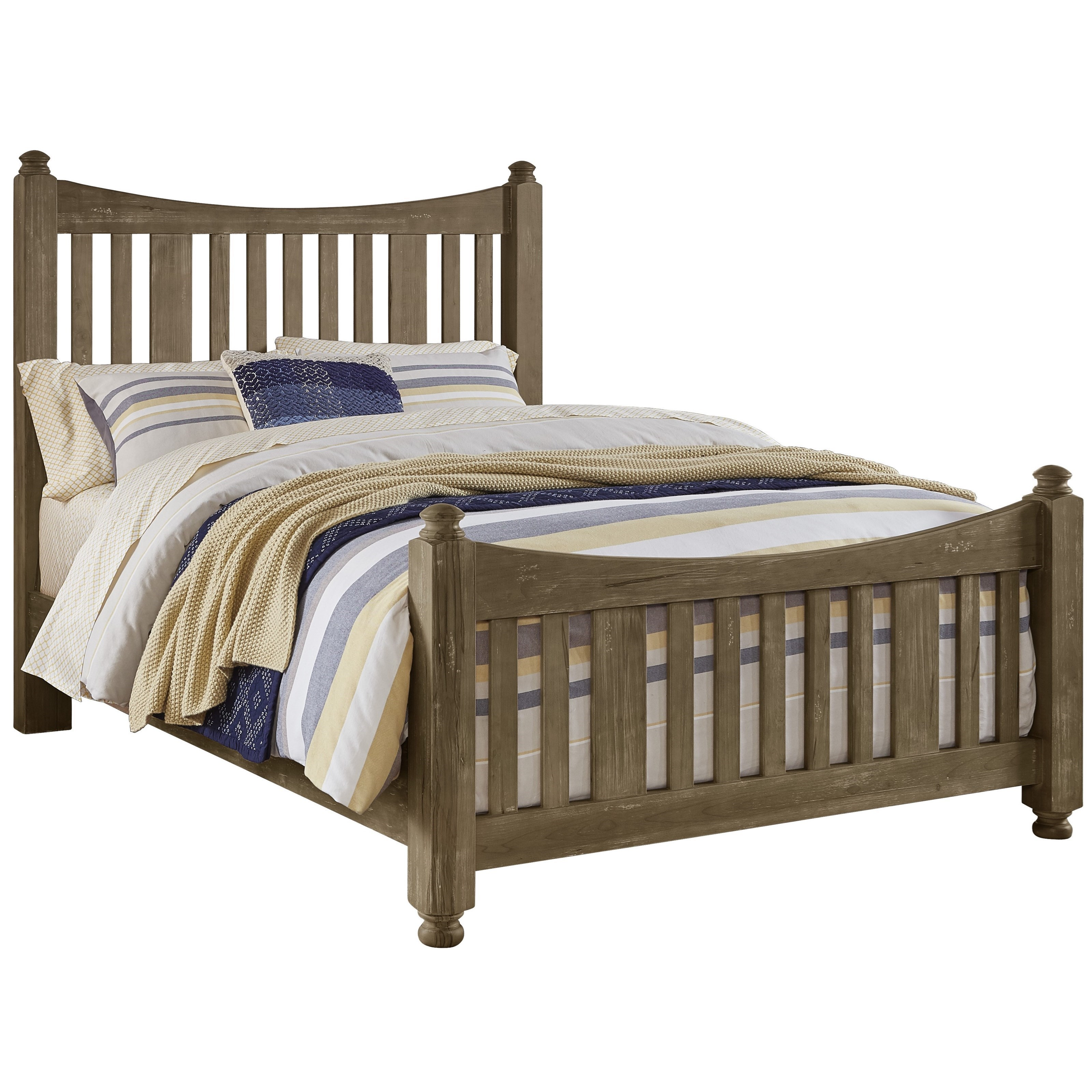 Solid Wood Queen Slat Poster Bed