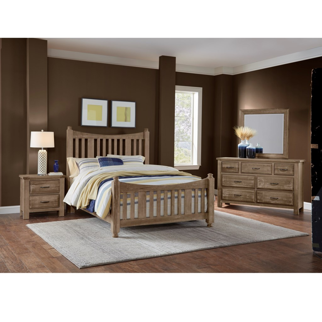 artisan post maple road solid wood queen slat poster bed