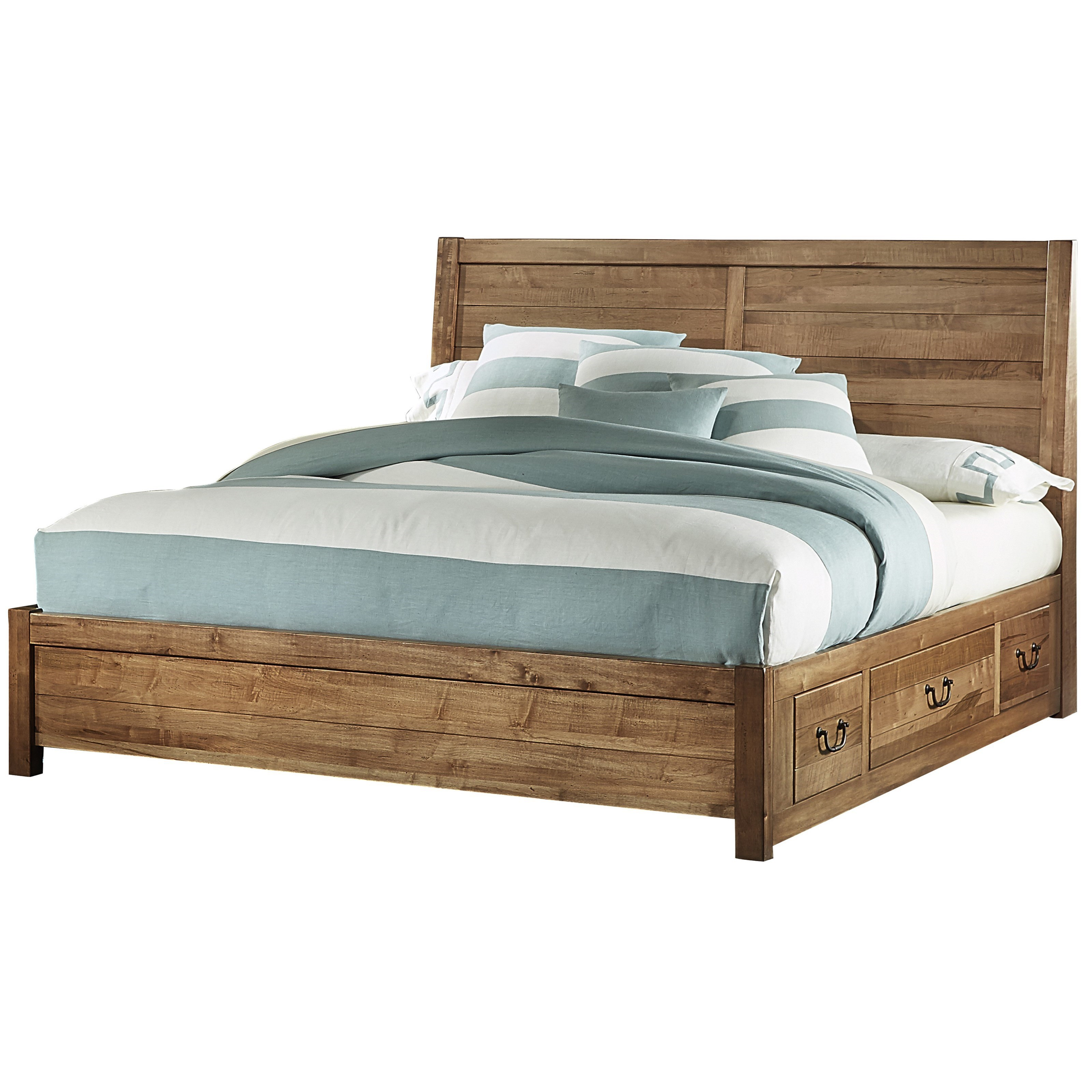 Contemporary Queen Panel Bed with 3 Side Storage Drawers