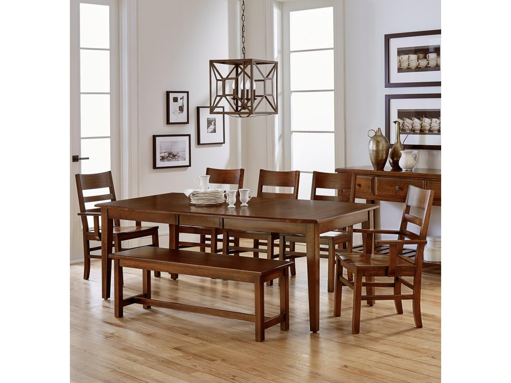 Artisan Post By Vaughan Bassett Simply Dining 7 Piece Table Set With Bench