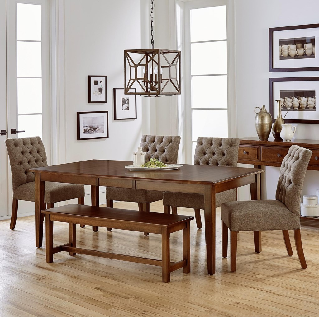 artisan post simply dining 6 piece solid cherry boat table set artisan post simply dining 6 piece solid cherry boat table set with bench hudson s furniture table chair set with bench