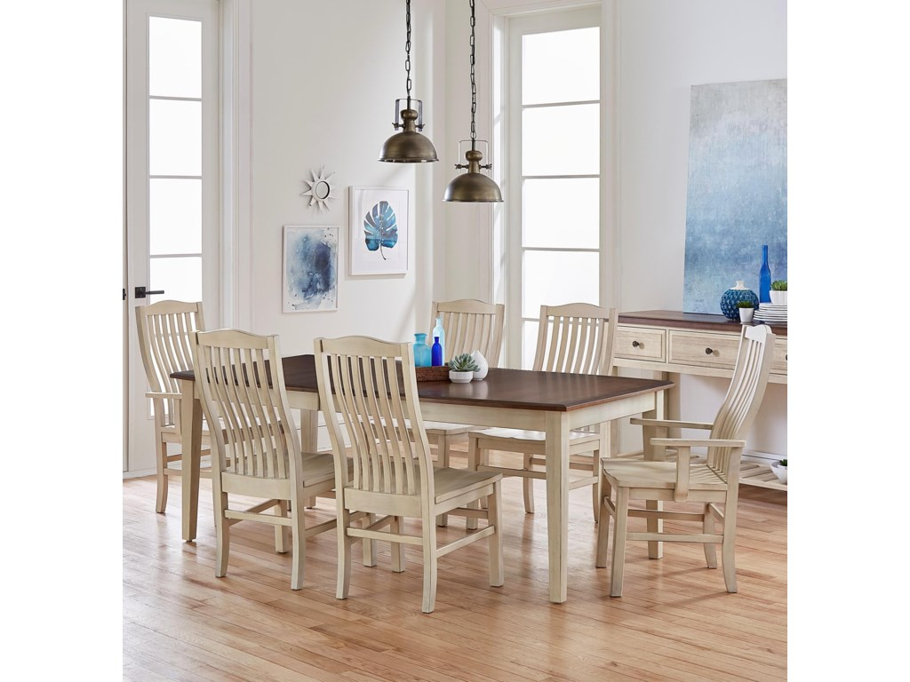 Artisan Post By Vaughan Bassett Simply Dining 7 Piece Solid Cherry Boat Table Set