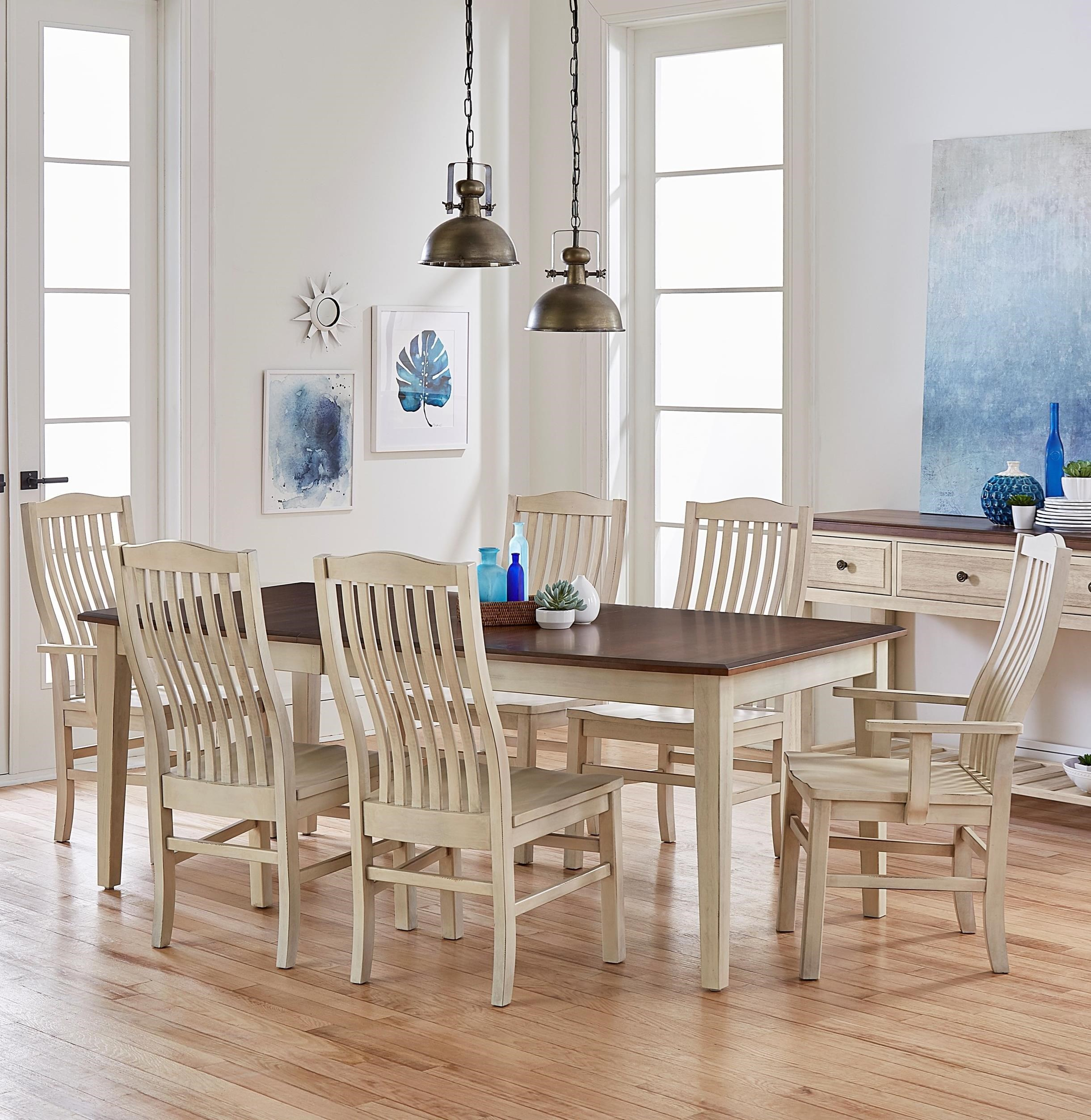 Artisan U0026 Post Simply Dining 7 Piece Solid Cherry Boat Table Set   Belfort  Furniture   Dining 7 (or More) Piece Sets