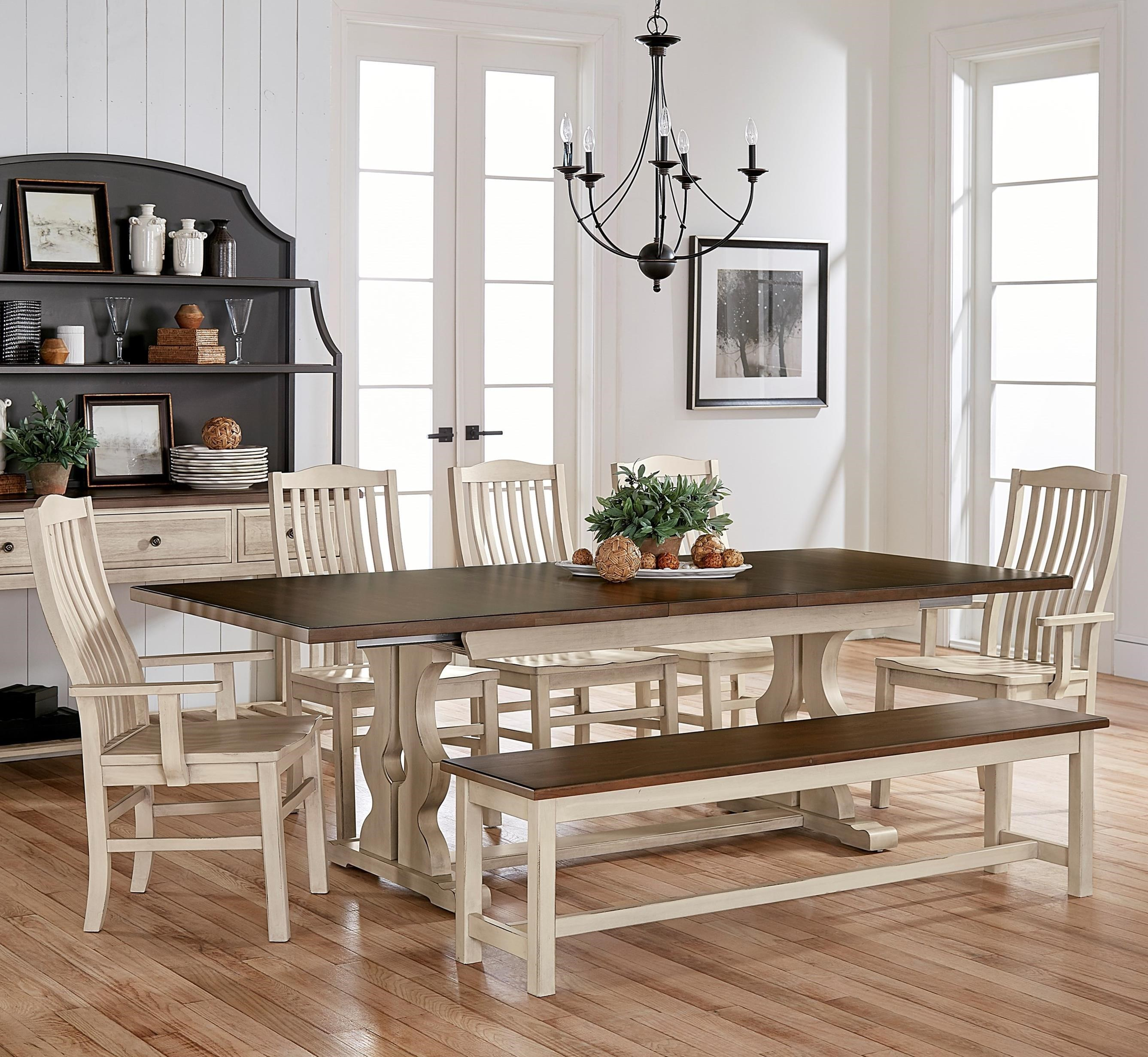 Artisan U0026 Post Simply Dining 7 Piece Solid Cherry Table Set With Bench    John V Schultz Furniture   Table U0026 Chair Set With Bench