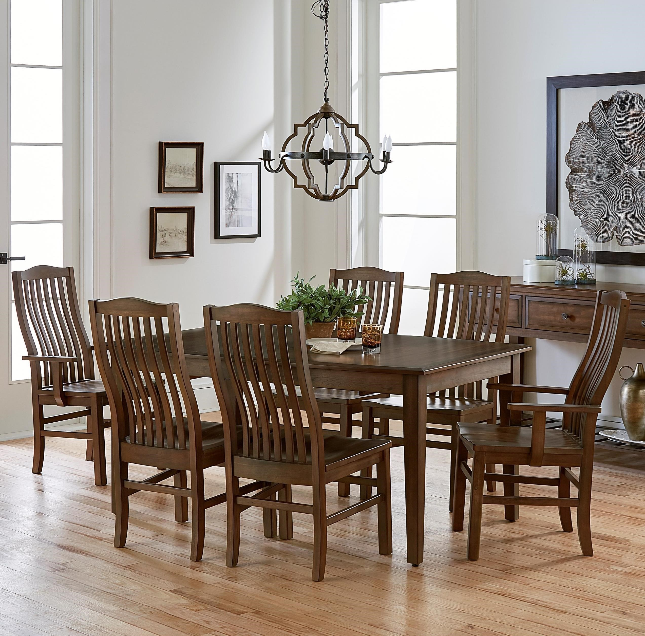 Artisan U0026 Post By Vaughan Bassett Simply Dining 7 Piece Solid Cherry Boat  Table Set   Becker Furniture World   Dining 7 (or More) Piece Sets