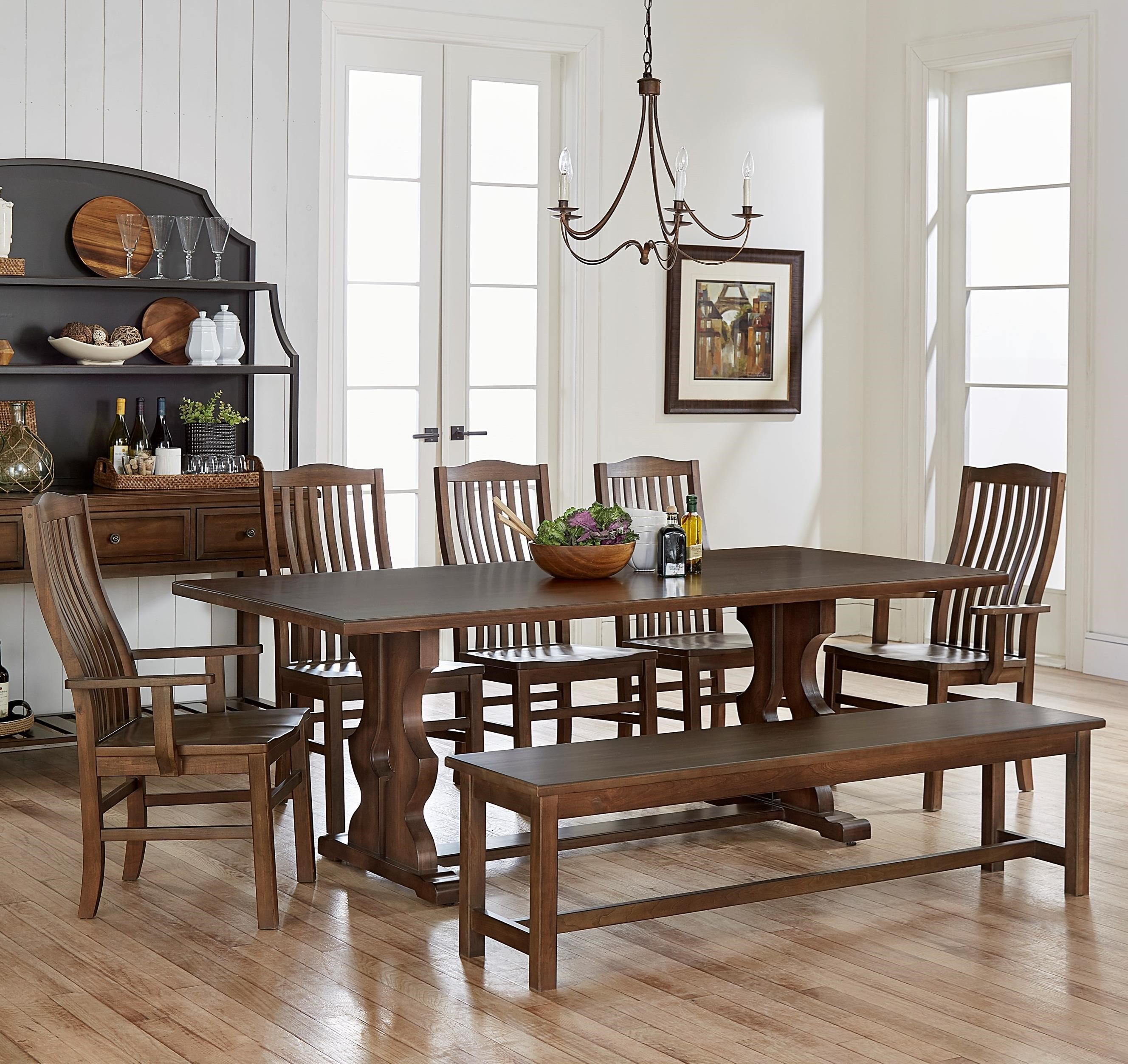 Bassett dining room sets bassett bench made seven piece dining set artisan u0026 post by vaughan bassett simply dining 7piece solid cherry family dinner table set with bench becker furniture world dining 7 or more piece dzzzfo