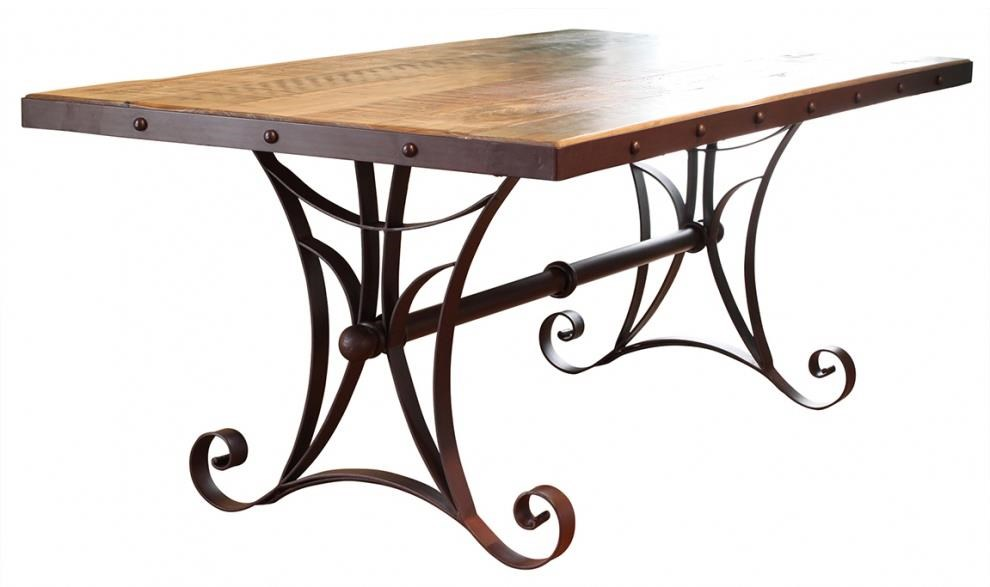 Trestle Dining Table with Metal Base