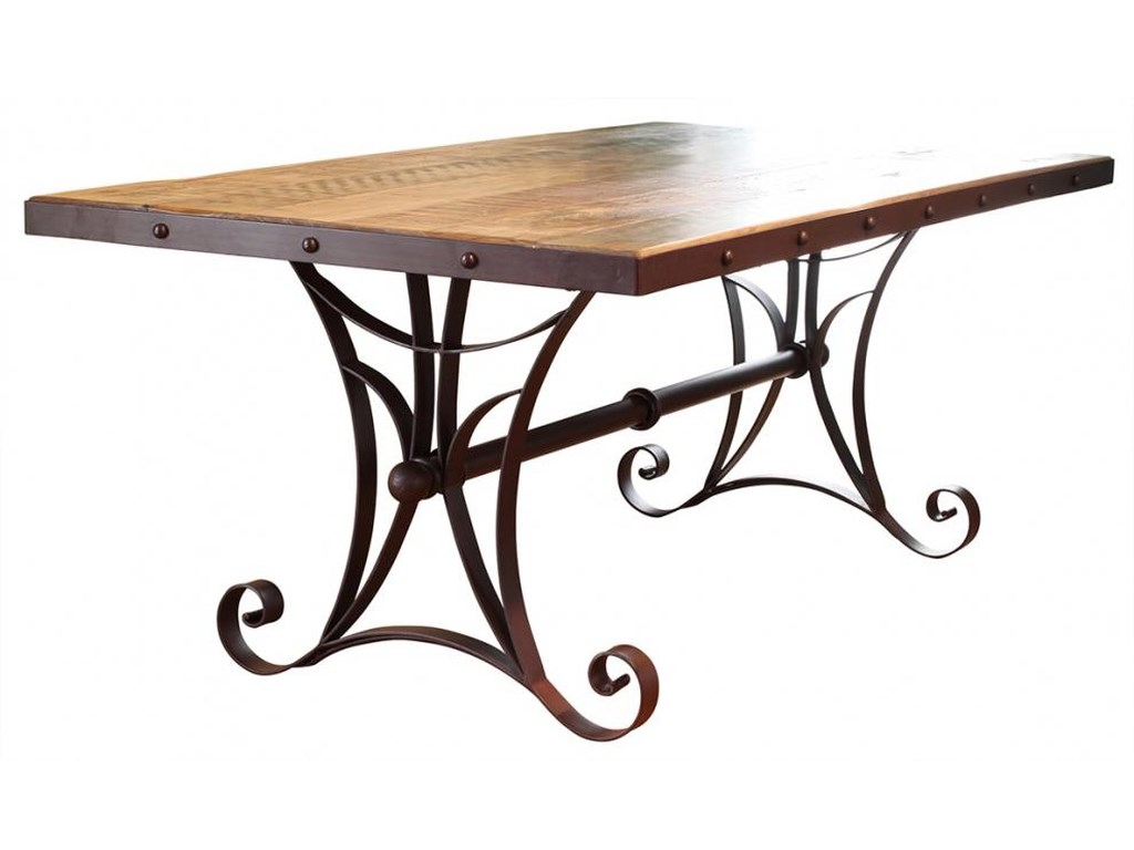 International Furniture Direct 900 AntiqueDining Table with Metal Base