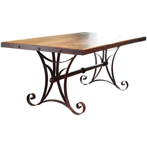 International Furniture Direct 900 Antique Trestle Dining Table with Metal Base