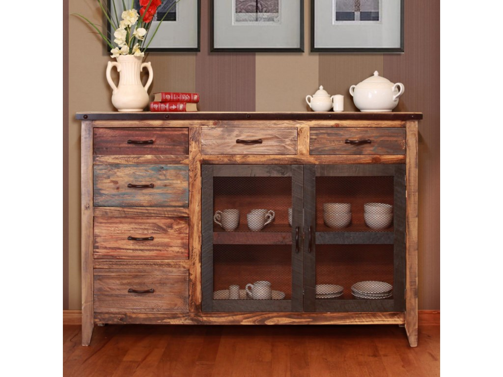 International Furniture Direct 900 AntiqueMulticolor Buffet with 6 Drawers