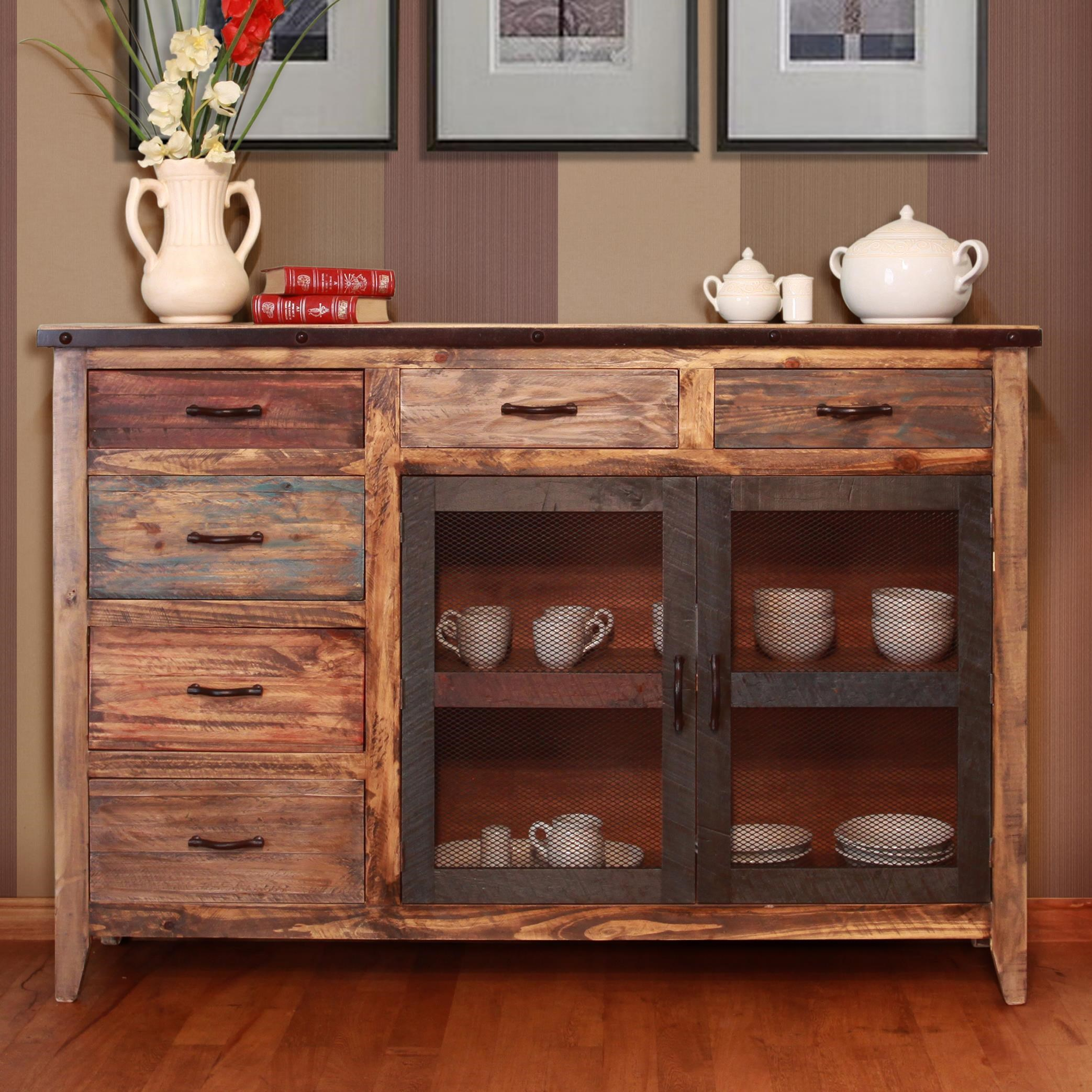 Marvelous International Furniture Direct 900 AntiqueMulticolor Buffet With 6 Drawers  ...