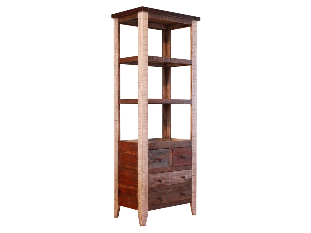 International Furniture Direct 900 AntiquePier with 4 Drawer and 3 Shelves