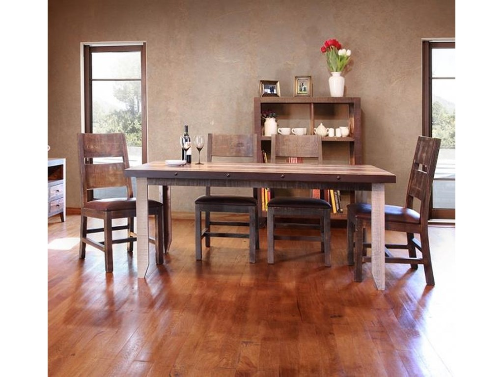 International Furniture Direct 900 Antique 5 Piece Table And Chairs
