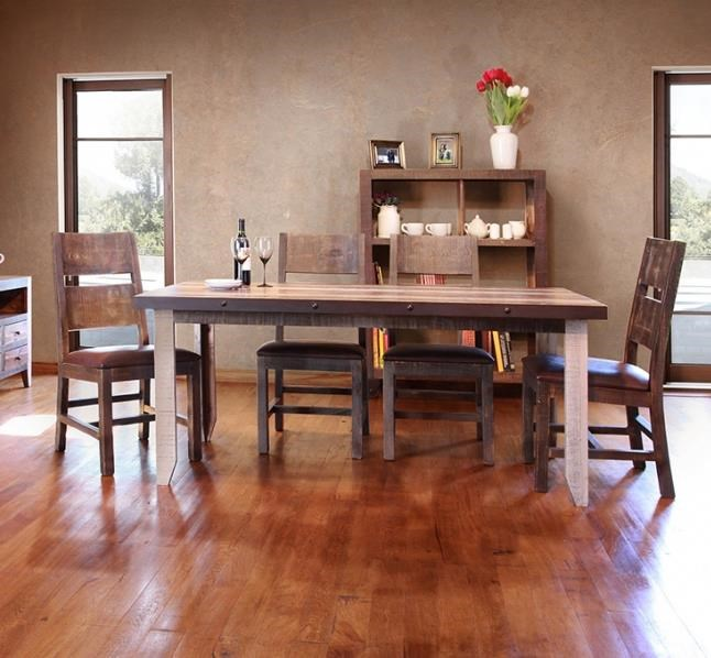 International Furniture Direct 900 Antique5 Piece Table and Chairs Set