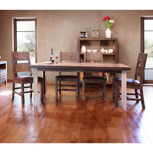 International Furniture Direct 900 Antique 5 Piece Table and Chairs Set
