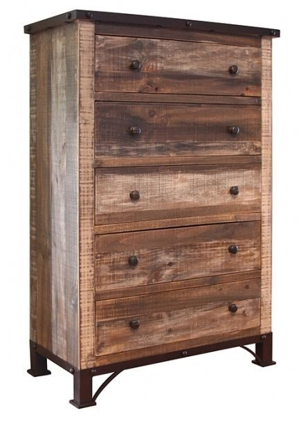 International Furniture Direct 900 Antique5 Drawer Chest