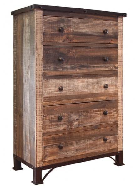 International Furniture Direct 900 Antique Rustic 5 Drawer Chest