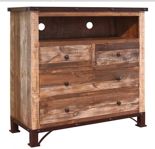 International Furniture Direct 900 Antique Rustic 4 Drawer Media Chest