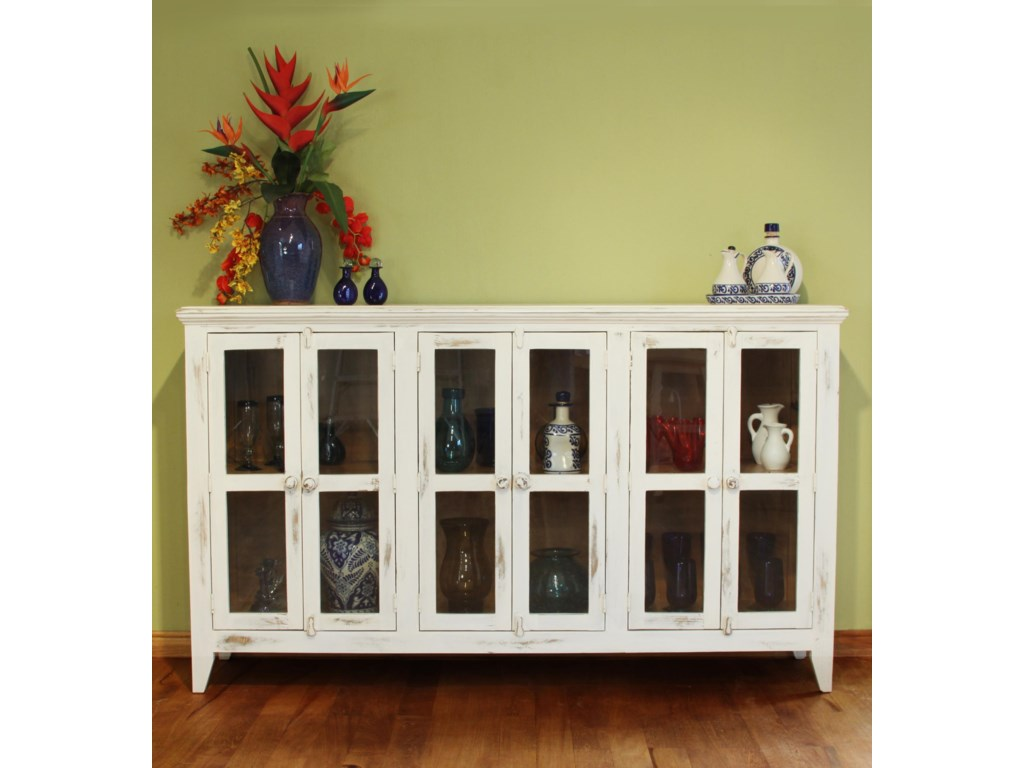 International Furniture Direct 900 AntiqueConsole with 6 Doors ... - International Furniture Direct 900 Antique Console With 6 Doors