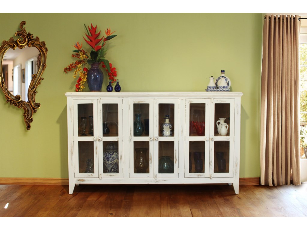 International Furniture Direct 900 AntiqueConsole with 6 Doors
